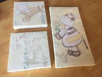 Mamas & Papas Zeddy and Parsnip canvas x 3