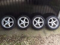 """Mazda MX5 15"""" alloy wheels with tyres mint condition. MK1 MK2 MK2.5 4x100 6J"""