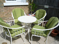 Country Garden Style Table, Four Chairs plus matching Parasol