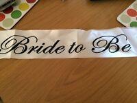Wedding hen sash