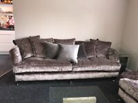 Sofolgy Champagne Crushed Velvet 2 piece Couch with cushions