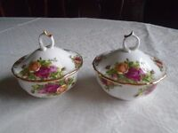 Pair of Royal Albert Old Country Roses Dishes with lids