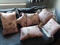 2 sets of curtains and pillows matching