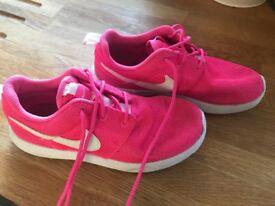 Girls Pink Nike Trainers size 2 uk
