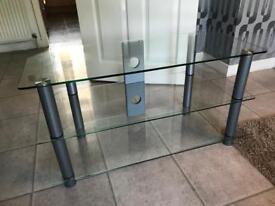 3 Tier Glass TV Unit/Stand with Cable holes
