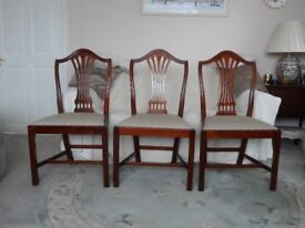 Three Antique Reproduction Dining Chairs. Excellent condition.