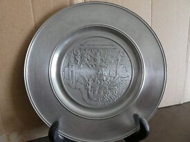 Pewter Hong Kong plate with stand