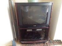 Vintage 1990s Television Set, Philips 32PW9586C with Mahogany trim