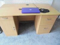 Large desk wood veneer brown
