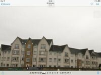 Larbert. The Inches. 2 bed moden flat. With white goods. Juliette balcony with golf course view