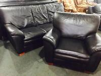 Black leather 3 and 1 sofa set as new condition