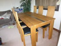 Solid Wood Six Seater Dining Room Table & 6 Chairs