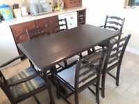 Priory dining table and 6 chairs.. solid wood . Good condition