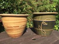 Decorative ceramic garden pots