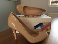 Office patent nude heels, size 37