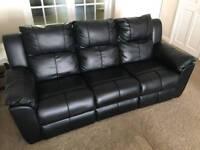 3 Seater Leather Sofa & L Shaped Corner Sofa Bed