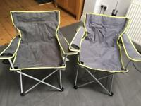 2 x Camping Chairs Fold Away Festival Compact Chairs