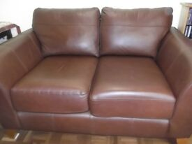 Good quality matching brown leather sofa and sofa bed