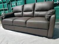 NEW Furniture Village Apollo 3 Seater Chocolate Brown Leather Sofa DELIVERY AVAILABLE