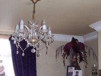 A MATCHING PAIR GLASS CRYSTAL 1930S CHANDELIERS REWIRED ...