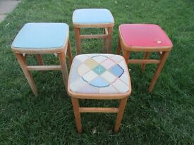 4 retro breakfast bar stools, kitchen stools cafe style chair stools
