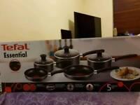 Tefal Essential Cookware Set - Black 5 Pieces