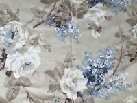Blue and cream floral curtains