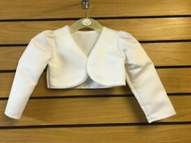 WHITE BABY GIRLS BOLERO JACKET 3/6 MONTHS BRAND NEW ONLY £4.99