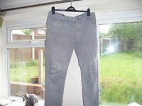 Crosshatch Mens Light Grey Jeans Slim Size 34