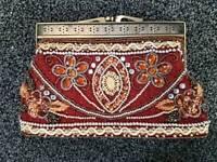 Vintage stoned clutch bag