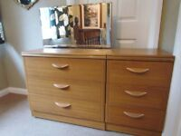 Chest of Drawers with Mirror + Matching Bedside Cabinet by Alstons Furniture