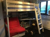 Scallywag high sleeper bed with futon and desk