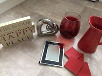 Bundle of red and silver home accessories