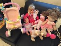 baby dolls and teddy and pram toy bundle