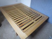 Wooden double bed frame, very good condition, (mattress included free)