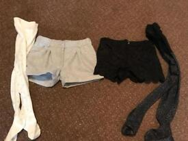 2 pairs girls shorts & tights age 7 years