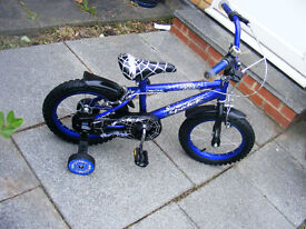 "BOYS 14"" WHEEL SPIDER BIKE-FITTED STABILISERS IN GREAT WORKING ORDER"