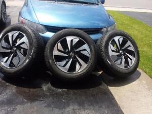 THREE WHEELS ONLY NOT FOUR. HONDA CRV 2016 FACTORY OEM 18 INCH WHEELS WITH 225/60/18 ALL SEASON TIRES.