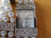 Pearl bracelet watch