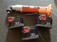 Ridgid R82233 12 volt Right angle 1/4'' impact driver with 3 x batteries AEG near new ( NO CHARGER)