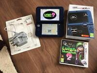 Nintendo New 3DS XL Metallic Blue With Luigi Mansion 2 and Charger