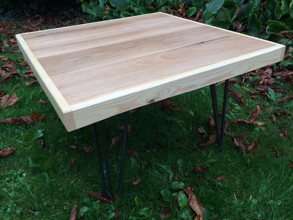 Hand made solid oak coffee table with hairpin legs redland