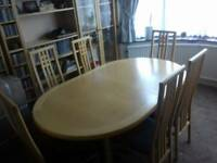 Wharfside solid wood drawerleaf dining table and 6 matching chairs