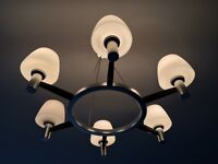 MODERNIST METAL AND GLASS 1970s CHANDELIER