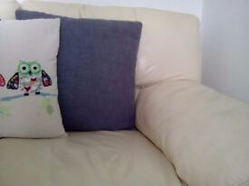 Two seater sofa x2 cream leather good condition £50 for both buyer to collect