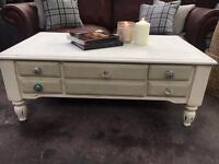 Shabby Chic Painted Coffee Table with Drawers - UK Delivery