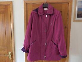 Ladies 3/4 length coat, dark pink