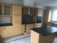 Light oak kitchen with oven and grill and hob exterior fan for sale