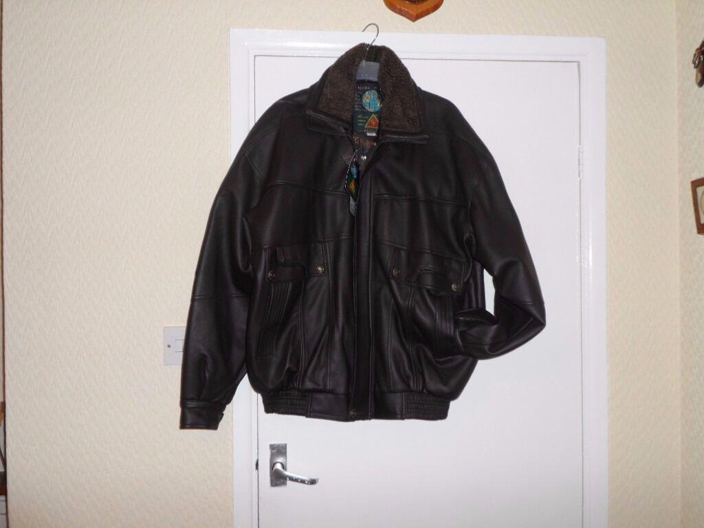 Leather jacket xl size - Mans New Faux Leather Jacket X L Size