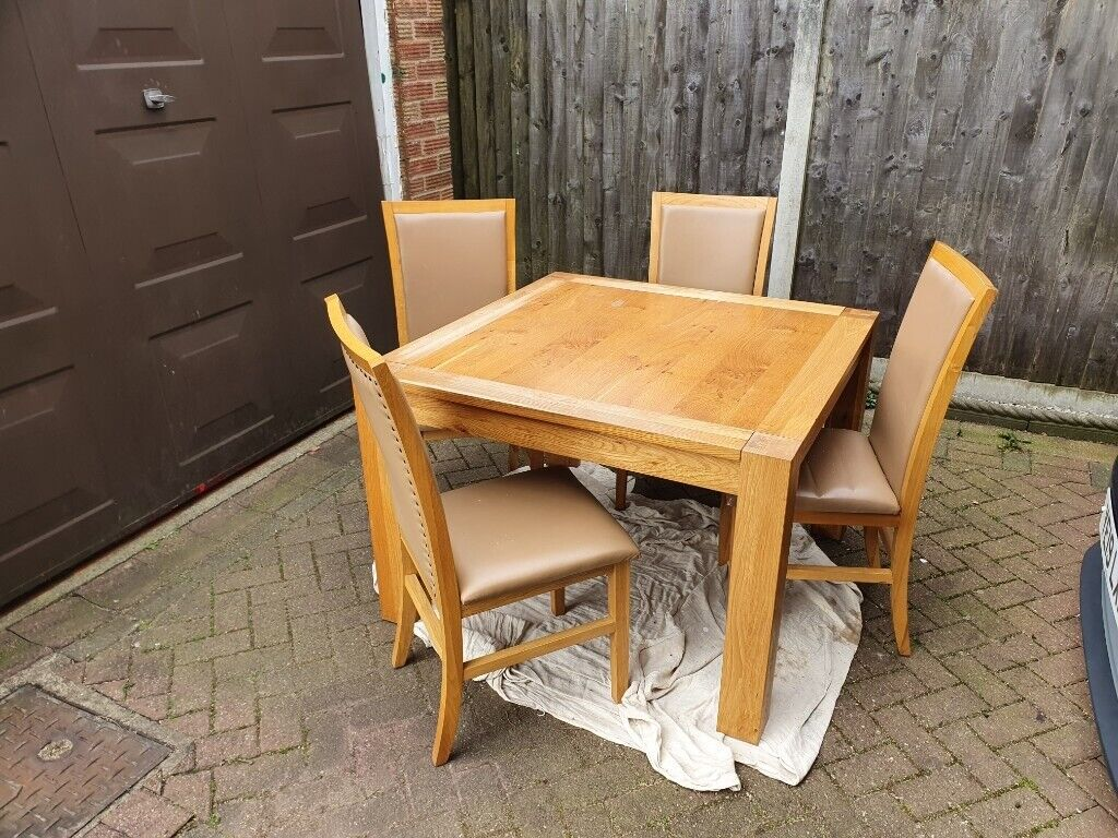 Solid Oak Dining Table With 4 Chairs | in Rochdale ...